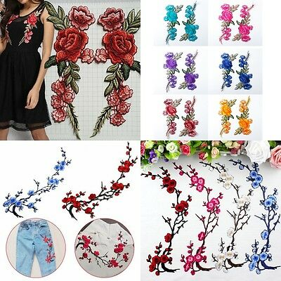 Lots Flower Applique Clothing Embroidery Patch Sticker Iron On Sew Cloth DIY