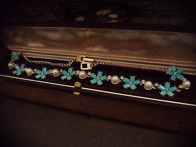 Vintage Butler & Wilson Turquoise Aquamarine Crystal with Pearl Necklace Signed