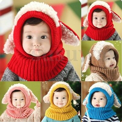 Baby Girls Boys Toddler Winter Beanie Warm Hat Hooded Scarf Earflap Knitted Cap