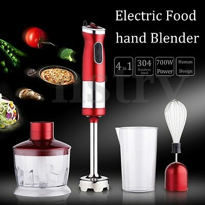 700W 4Pcs Electric Portable Food Stick Hand Blender Mixer Mincer Processor Jug