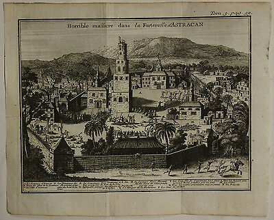 Astrakhan Russia 1718 Anonymous Unusual Antique Original Copper Engraved View