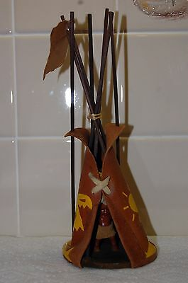 1960's Vintage Souvenir Miniature Leather Tee-Pee Made By The Cherokee Tribe