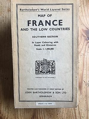 Map. France & Low Countries. 1960. Folding. Linen. Coloured. Bartholomew