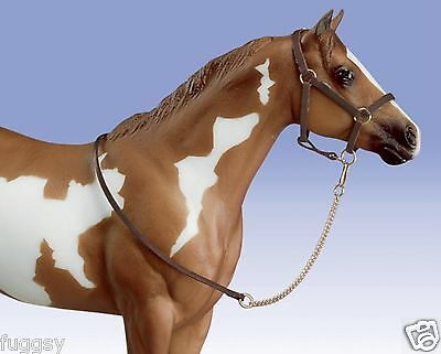 BREYER Model Horse Leather Look Halter and Chain Lead Traditional 1:9 Scale 2456