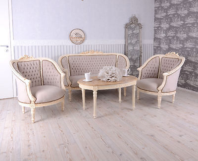 Salon Style Louis Xvi Canape + 2 Fauteuils + 1 Table Basse En Hetre Blanc Patine
