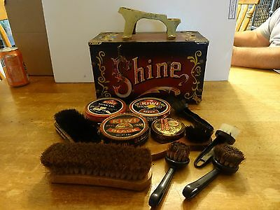 Vintage 5 Cent Wooden & Metal Shoe Shine Box Carnival Design