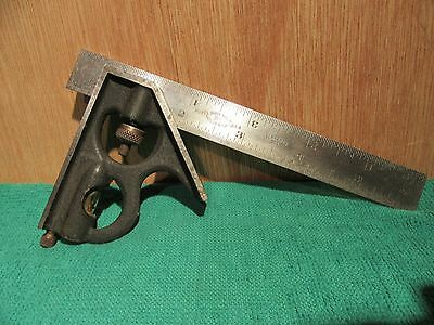 """Vintage 6"""" Brown & Sharpe Machinist Combination Square Tempered  No 4 & Scribe"""