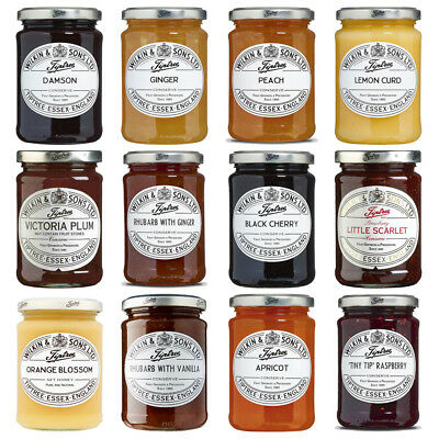 Tiptree Jam Jar Lemon Black Cherry Strawberry Plum Vanilla Tawy Wilkin & Sons