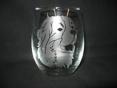 New Etched Bernese Mountain Dog Stemless Wine Glass Tumbler