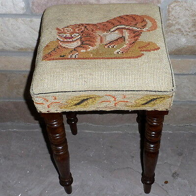 19th Century Early Victorian Stool with Woolwork Tiger Top