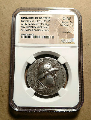 Kingdom of Bactria Eucratides I Tetradrachm170-145 BC NGC AU 5/5 1/5 High Relief