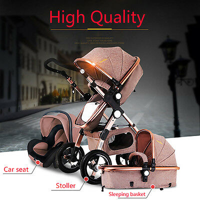 Useful Baby Stroller 3 in 1 High View Pram Foldable Pushchair Bassinet Car Seat