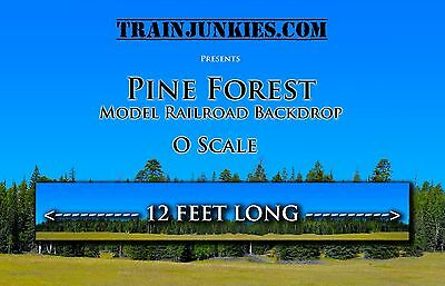 """TrainJunkies O Scale """"Pine Forest""""  24x144"""" Backdrop C-10 Brand New"""