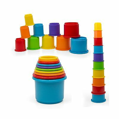 Rainbow Stacking & Nesting Cups Baby Building Set. 10 Pieces. With Embossed A...