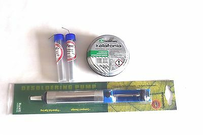 SET 2x10g solder wire+paste,flux desoldering pum rosin welding ,electronic KIT