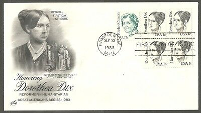 Us Fdc 1983 Dorothea Dix 1C & 17C Stamp Art Craft First Day Of Issue Cover