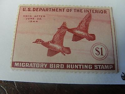 Vintage US RW10 $1 1943 Migratory Bird Hunting Stamp 1940's Duck