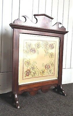 Antique vintage embroidery draught fire screen / firescreen