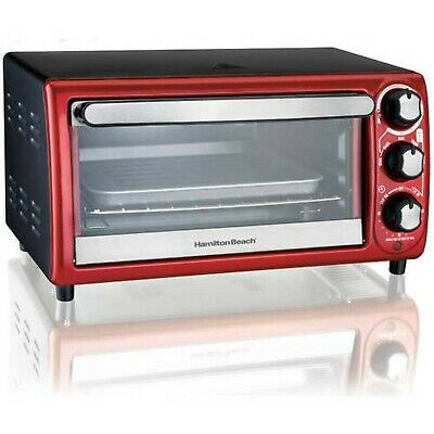 Hamilton Beach 4 Slice Toaster Oven 5 Functions Red 31146  -  New