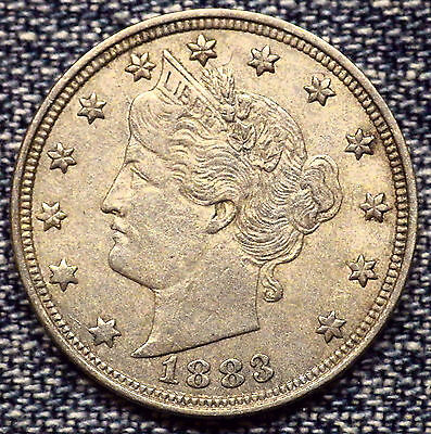 1883/3 Liberty Nickel No Cents Repunched Date AU++ Coin