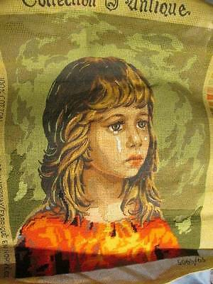 Started Collection Antique Crying Girl Needlepoint Canvas #5065/63-14x19 Inches/