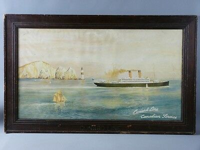 Cunard Line. RMS Carmania. Original steamer poster. The needles, isle of wight.