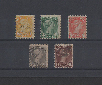 "Canada 1870 - 1893. 5 stamps ""Small Queen Issue"", used"