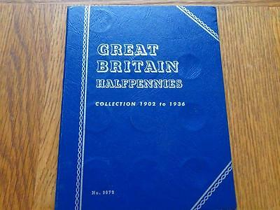 Great Britain Half-Penny 1902 To 1936 Complete 36 Coins In Whitman Folder