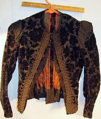 Antique Victorian Black Velvet Corset Like Ladies Jacket Coat Possibly French