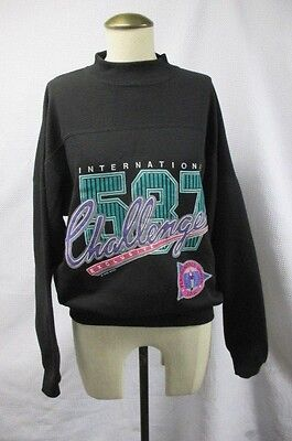 TRUE VTG 80's 1989 IOU GRAPHIC LOGO SWEATSHIRT INTERNATIONAL CHALLENGE BLACK S