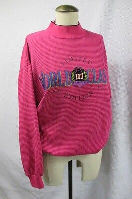TRUE VTG's 90's 1991 IOU GRAPHIC LOGO SWEATSHIRT WORLD CLASS PINK STRIPE M