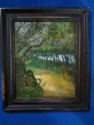 Interesting impressionist oil painting of a woodland path with mill pond