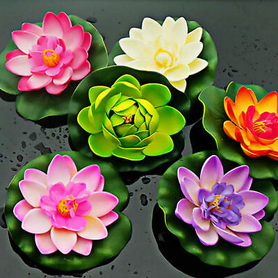 Plastic Fake Lotus Water Lily Floating Flower Home Decor Tank Plant Ornament