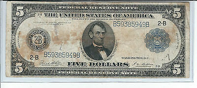 United States $5 Federal Reserve Note series of 1914 in Very Good+