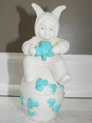 """Dept 56 Snowbunnies Figurine - """"May Luck Be With You"""" Trinket Box"""