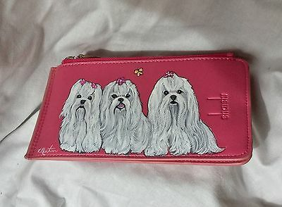 Leather credit card holder with 3 hand painted Maltese