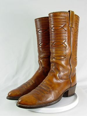 Vintage DAN POST Men 9.5-B Brown Leather Stovepipe Western Horse Cowboy Boots