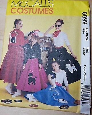 McCalls M8899 Size ADULT LARGE (16-18) Circular Skirt Sock Hop Poodle Costume