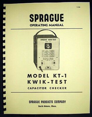 SPRAGUE Kwik-Test KT-1 KT1 Capacitor Checker Manual