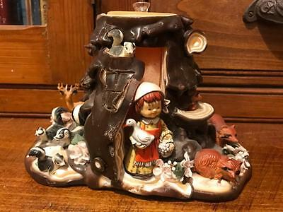 RARE Vintage Forest Animal Tree Trunk Fairytale Wax CANDLE Retro Storybook Nurse