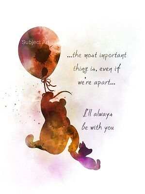 Winnie the Pooh Quote ART PRINT, Piglet, Balloon, Nursery, Wall Art, Gift, Decor