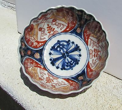 Antique 19th Century Imari Porcelain Fluted Scalloped Bowl
