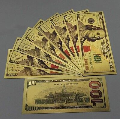 ✯ $100 ✯ Gold Leaf ✯ Note Dollar Bill Currency ✯ Cash Money Novelty ✯ Usa Free ✯