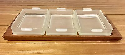 Laurids Lonborg Denmark Teak Tray With 3 Frosted Glass Dishes Mid Century Modern