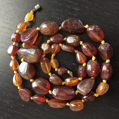 Fine Antique Chinese Carved Natural Amber Large Beaded Necklace Art NR 4