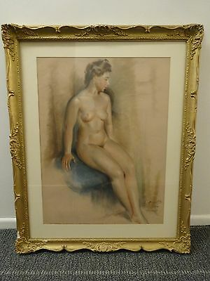 Original Nude Female Drawing Signed Albert Genta Listed French Artist