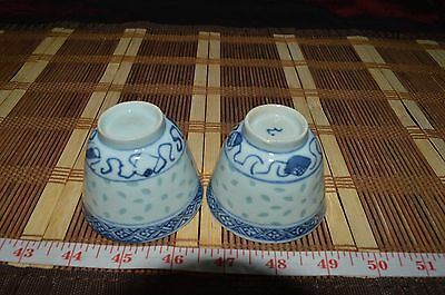 Two Antique Chinese Porcelain Cups Teacup Blue & White Translucent Rice Pattern