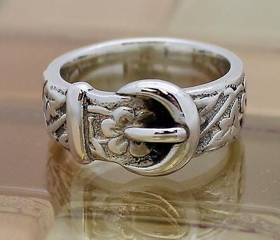 James Avery Sterling Silver Floral Belt & Buckle Ring, Size 7, 8.7g RETAIL:$79!