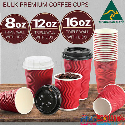 Disposable Coffee Cups + Lids 8oz 12oz 16oz Takeaway Paper Cup Triple Wall Bulk
