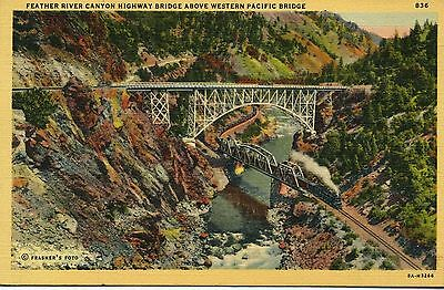 Feather River Canyon Highway Bridges Above Western Pacific Railroad, Pulga, Ca.